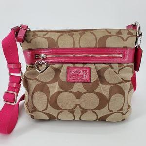 Coach Daisy Signature File Bag w/ Raspberry Trim